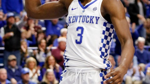 Kentucky's Hamidou Diallo (3) celebrates during the first half of an NCAA college basketball game against Virginia Tech, Saturday, Dec. 16, 2017, in Lexington, Ky.(AP Photo/James Crisp)