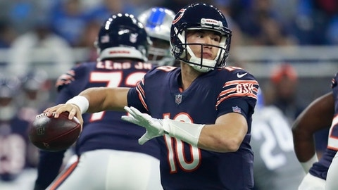 Chicago Bears quarterback Mitchell Trubisky throws during the first half of an NFL football game against the Detroit Lions, Saturday, Dec. 16, 2017, in Detroit. (AP Photo/Rey Del Rio)