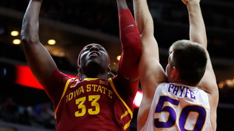 Iowa State forward Solomon Young (33) shoots over Northern Iowa forward Austin Phyfe (50) during the first half of an NCAA college basketball game, Saturday, Dec. 16, 2017, in Des Moines, Iowa. (AP Photo/Charlie Neibergall)
