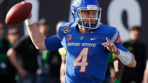 Boise State quarterback Brett Rypien attempts a pass against Oregon during the first half of the Las Vegas Bowl NCAA college football game Saturday, Dec. 16, 2017, in Las Vegas. (AP Photo/John Locher)