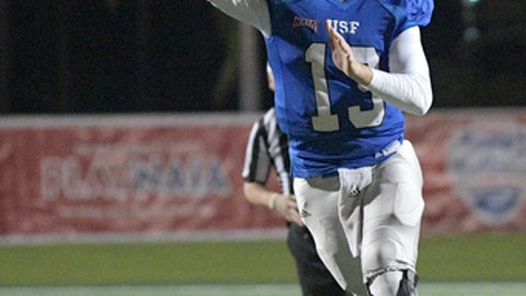 St. Francis quarterback Nick Ferrer (13) throws a 16-yard touchdown pass to receiver Duke Blackwell during the first half of the NAIA championship NCAA college football game against Reinhardt, Saturday, Dec. 16, 2017, in Daytona Beach, Fla. (AP Photo/Phelan M. Ebenhack)