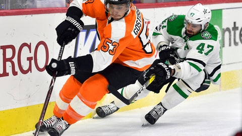 Philadelphia Flyers' Shayne Gostisbehere, left, skates past Dallas Stars' Alexander Radulov during the first period of an NHL hockey game, Saturday, Dec. 16, 2017, in Philadelphia. (AP Photo/Derik Hamilton)