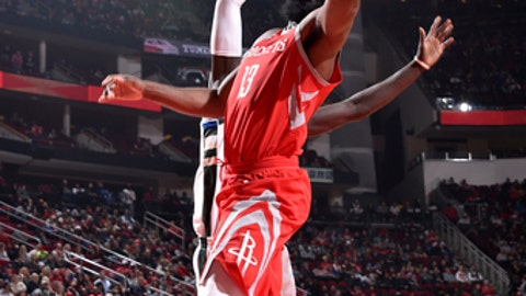 HOUSTON, TX - DECEMBER 16: James Harden #13 of the Houston Rockets shoots a lay-up against the Milwaukee Buck on December 16, 2017 at the Toyota Center in Houston, Texas. NOTE TO USER: User expressly acknowledges and agrees that, by downloading and or using this photograph, User is consenting to the terms and conditions of the Getty Images License Agreement. Mandatory Copyright Notice: Copyright 2017 NBAE (Photo by Bill Baptist/NBAE via Getty Images)