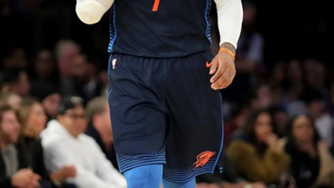 NEW YORK, NY - DECEMBER 16: Carmelo Anthony #7 of the Oklahoma City Thunder reacts late in the fourth quarter against the New York Knicks during their game at Madison Square Garden on December 16, 2017 in New York City. NOTE TO USER: User expressly acknowledges and agrees that, by downloading and or using this photograph, User is consenting to the terms and conditions of the Getty Images License Agreement.  (Photo by Abbie Parr/Getty Images)
