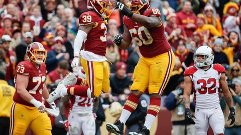Washington Redskins running back Kapri Bibbs (39) celebrates his touchdown with teammate offensive guard Arie Kouandjio (60) during the first half of an NFL football game against Arizona Cardinals in Landover, Md., Sunday, Dec 17, 2017. (AP Photo/Alex Brandon)