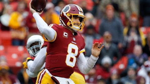 Washington Redskins quarterback Kirk Cousins (8) passes the ball during the second half of an NFL football game against Arizona Cardinals in Landover, Md., Sunday, Dec 17, 2017. (AP Photo/Alex Brandon)