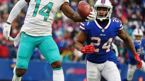 Miami Dolphins' Jarvis Landry (14) makes a one-handed catch in front of Buffalo Bills' Leonard Johnson (24) during the second half of an NFL football game Sunday, Dec. 17, 2017, in Orchard Park, N.Y. (AP Photo/Rich Barnes)