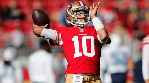 San Francisco 49ers quarterback Jimmy Garoppolo (10) warms up before an NFL football game against the Tennessee Titans, Sunday, Dec. 17, 2017, in Santa Clara, Calif. (AP Photo/John Hefti)