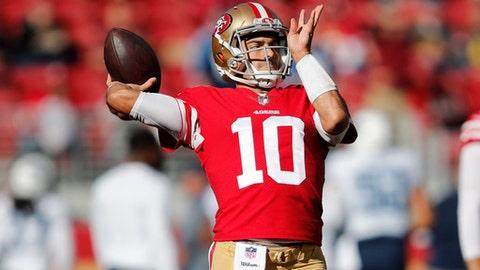 San Francisco 49ers quarterback Jimmy Garoppolo (10) warms up before an NFL football game against the Tennessee Titans, Sunday, Dec. 17, 2017, in Santa Clara, Calif. (AP Photo/John Hefti)