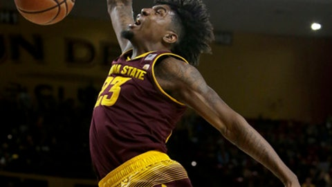 Arizona State forward Romello White (23) dunks against Vanderbilt in the second half during an NCAA college basketball game, Sunday, Dec 17, 2017, in Tempe, Ariz. Arizona State defeated Vanderbilt 76-64. (AP Photo/Rick Scuteri)