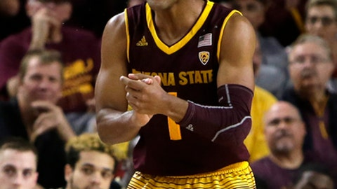 Arizona State guard Remy Martin (1) reacts after defeating Vanderbilt 76-64 during an NCAA college basketball game, Sunday, Dec 17, 2017, in Tempe, Ariz. (AP Photo/Rick Scuteri)