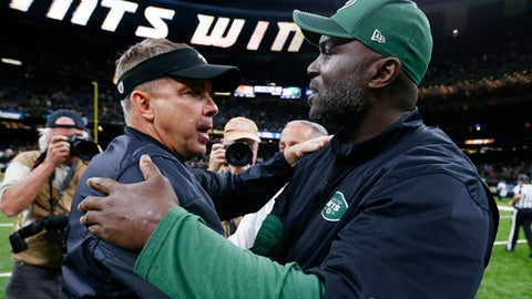 New Orleans Saints head coach Sean Payton, left, greets New York Jets head coach Todd Bowles after an NFL football game in New Orleans, Sunday, Dec. 17, 2017. The Saints won 31-19. (AP Photo/Butch Dill)