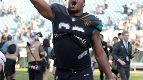 Jacksonville Jaguars defensive lineman Calais Campbell celebrates after defeating the Houston Texans in an NFL football game, Sunday, Dec. 17, 2017, in Jacksonville, Fla. (AP Photo/Phelan M. Ebenhack)