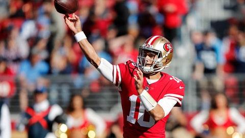 San Francisco 49ers quarterback Jimmy Garoppolo (10) throws against the Tennessee Titans during the first half of an NFL football game Sunday, Dec. 17, 2017, in Santa Clara, Calif. (AP Photo/John Hefti)