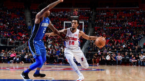 DETROIT, MI - DECEMBER 17: Ish Smith #14 of the Detroit Pistons handles the ball against the Orlando Magic on December 17, 2017 at Little Caesars Arena in Detroit, Michigan. NOTE TO USER: User expressly acknowledges and agrees that, by downloading and/or using this photograph, User is consenting to the terms and conditions of the Getty Images License Agreement. Mandatory Copyright Notice: Copyright 2017 NBAE (Photo by Chris Schwegler/NBAE via Getty Images)