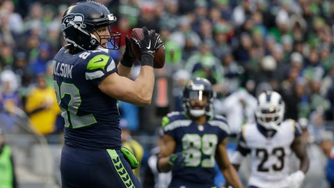 Seattle Seahawks tight end Luke Willson makes a catch for a touchdown against the Los Angeles Rams in the second half of an NFL football game, Sunday, Dec. 17, 2017, in Seattle. (AP Photo/Elaine Thompson)