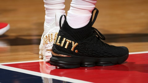 WASHINGTON, DC -  DECEMBER 17: Sneakers of LeBron James #23 of the Cleveland Cavaliers during game against the Washington Wizards on December 17, 2017 at Capital One Arena in Washington, DC. NOTE TO USER: User expressly acknowledges and agrees that, by downloading and or using this Photograph, user is consenting to the terms and conditions of the Getty Images License Agreement. Mandatory Copyright Notice: Copyright 2017 NBAE (Photo by Ned Dishman/NBAE via Getty Images)