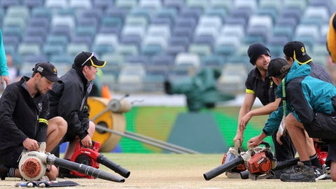 Ground staff dry the pitch with blowers before the start of the final day of the Ashes cricket test match between England and Australia in Perth, Australia, Monday, Dec. 18, 2017. (AP Photo/Trevor Collens)