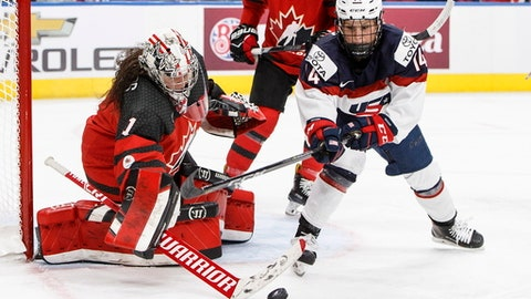 Team Canada goalie Shannon Szabados (1) makes a save on Team USA's Brianna Decker (14) during third period National Women's Team series hockey action in Edmonton, Alberta, on Sunday Dec. 17, 2017. (Jason Franson/The Canadian Press via AP)