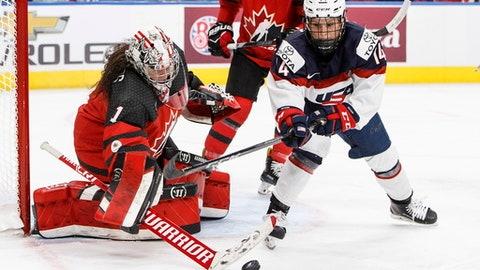 Team Canada goalie Shannon Szabados (1) makes a save on Team USA's Brianna Decker (14) during third period National Women's Team series hockey action in Edmonton, Alberta, on Sunday Dec. 17, 2017. (Jason Franson/The Canadian Press via AP)
