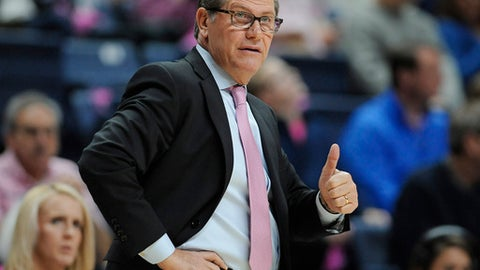 FILE - In this Feb. 11, 2017, file photo, Connecticut head coach Geno Auriemma gives a a thumbs up to his team in the first half of an NCAA college basketball game against SMU, in Storrs, Conn. UConn remains the unanimous No. 1 team in The Associated Press women's basketball poll. (AP Photo/Jessica Hill, File)