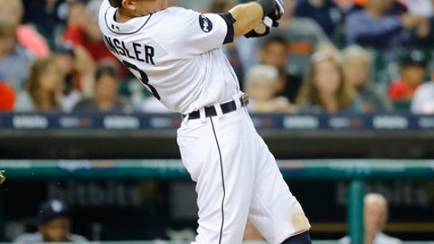 FILE - In this Aug. 9, 2017, file photo, Detroit Tigers' Ian Kinsler hits a three-run double against the Pittsburgh Pirates in the eighth inning of an interleague baseball game in Detroit. Kinsler thinks something special is happening with the Los Angeles Angels, and he was determined to be a part of it. The four-time All-Star second baseman joined the Angels last week from the Detroit Tigers, waiving his limited no-trade clause to make it happen.(AP Photo/Paul Sancya, File)