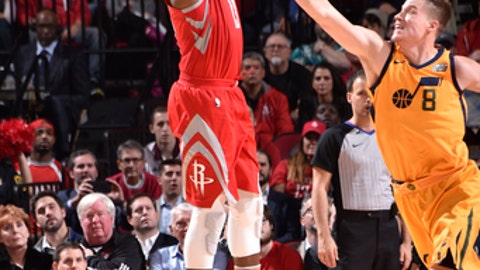 HOUSTON, TX - DECEMBER 18:  James Harden #13 of the Houston Rockets shoots the ball against Jonas Jerebko #8 of the Utah Jazz on December 18, 2017 at the Toyota Center in Houston, Texas. NOTE TO USER: User expressly acknowledges and agrees that, by downloading and or using this photograph, User is consenting to the terms and conditions of the Getty Images License Agreement. Mandatory Copyright Notice: Copyright 2017 NBAE (Photo by Bill Baptist/NBAE via Getty Images)