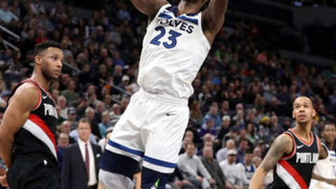 MINNEAPOLIS, MN - DECEMBER 18: Jimmy Butler #23 of the Minnesota Timberwolves goes to the basket against the Portland Trail Blazers on December 18, 2017 at Target Center in Minneapolis, Minnesota. NOTE TO USER: User expressly acknowledges and agrees that, by downloading and or using this Photograph, user is consenting to the terms and conditions of the Getty Images License Agreement. Mandatory Copyright Notice: Copyright 2017 NBAE (Photo by Jordan Johnson/NBAE via Getty Images)