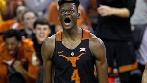 Texas center Mohamed Bamba celebrates his basket during the second half of an NCAA college basketball game against Tennessee State, Monday, Dec. 18, 2017, in Austin, Texas. (AP Photo/Michael Thomas)