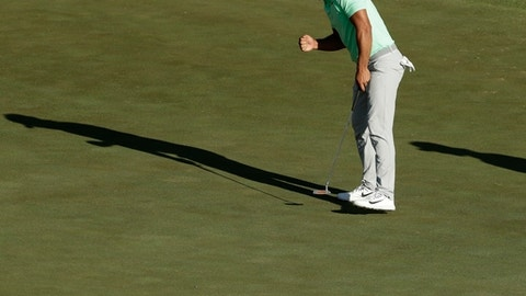FILE - In this June 18, 2017, file photo, Brooks Koepka reacts as he birdies the 16th hole during the fourth round of the U.S. Open golf tournament, at Erin Hills in Erin, Wis. It was the highlight of his back nine when he won his first major. (AP Photo/Charlie Riedel, File)