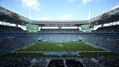 Hard Rock Stadium field is seen during the second half of an NFL football game against the Tennessee Titans, Sunday, Oct. 8, 2017, in Miami Gardens, Fla. (AP Photo/Joel Auerbach)