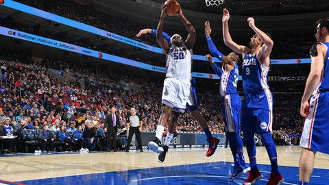 PHILADELPHIA,PA -  DECEMBER 19 : Zach Randolph #50 of the Sacramento Kings drives to the basket against the Philadelphia 76ers at Wells Fargo Center on December 19, 2017 in Philadelphia, Pennsylvania NOTE TO USER: User expressly acknowledges and agrees that, by downloading and/or using this Photograph, user is consenting to the terms and conditions of the Getty Images License Agreement. Mandatory Copyright Notice: Copyright 2017 NBAE (Photo by Jesse D. Garrabrant/NBAE via Getty Images)