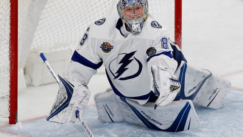 Tampa Bay Lightning goalie Andrei Vasilevskiy makes a save against the Vegas Golden Knights during the second period of an NHL hockey game Tuesday, Dec. 19, 2017, in Las Vegas. (AP Photo/John Locher)