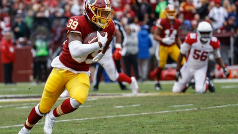 FILE - In this Dec. 17, 2017, file photo, Washington Redskins running back Kapri Bibbs (39) heads down the field for a touchdown during the first half of an NFL football game against Arizona Cardinals, in Landover, Md. Bibbs is the latest street free agent to make an immediate impact for the Redskins with the hopes of rejuvenating his NFL career. (AP Photo/Patrick Semansky, File)