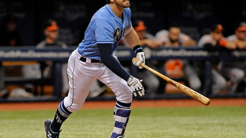 Tampa Bay Rays' Evan Longoria hits a RBI-double off Baltimore Orioles reliever Brad Brach during the eighth inning of a baseball game Sunday, Oct. 1, 2017, in St. Petersburg, Fla. (AP Photo/Steve Nesius)