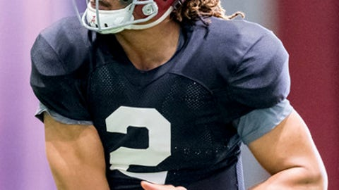 Alabama quarterback Jalen Hurts (2) works through drills during football practice, Wednesday, Dec. 20, 2017, at the Hank Crisp Indoor Facility in Tuscaloosa, Ala. (Vasha Hunt/AL.com via AP)