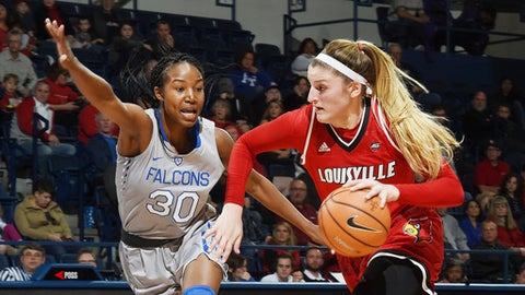 Louisville forward Sam Fuehring drives the ball past Air Force forward Naomi Hughes during the first half of an NCAA college basketball game at Air Force Academy, Colo., Wednesday, Dec. 20, 2017. Louisville won 62-50. (Jerilee Bennett/The Gazette via AP)