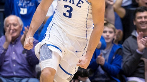 Duke's Grayson Allen (3) smiles after a play during the second half of an NCAA college basketball game against Evansville in Durham, N.C., Wednesday, Dec. 20, 2017. (AP Photo/Ben McKeown)