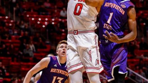 Utah guard Sedrick Barefield (0) scores against Northwestern State during an NCAA college basketball game in Salt Lake City, Wednesday, Dec, 20, 2017. (Trent Nelson/The Salt Lake Tribune via AP)