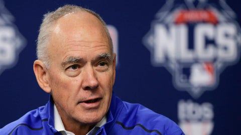 FILE - In this Oct. 16, 2015 file photo, New York Mets general manager Sandy Alderson answers questions for the media during a news conference in New York. Alderson has been given a contract extension, as long expected. Alderson succeeded Omar Minaya in October 2010, and his previous contract expired after the season. The length of his new deal was not specified. New York reached the World Series in 2015 and the NL wild-card game the following year before slumping to a 70-92 record in an injury-filled 2017 season. (AP Photo/Julie Jacobson, File)