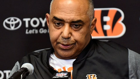 FILE - In this Dec. 17, 2017, file photo, Cincinnati Bengals head coach Marvin Lewis speaks during a news conference after an NFL football game against the Minnesota Vikings, in Minneapolis. The Bengals are out of contention for the second straight season, putting up back-to-back losing records for the first time since 2007-08. A lot could change in two weeks with Lewis finishing his contract and likely headed out following his 15th season in Cincinnati.  (AP Photo/John Autey, File)