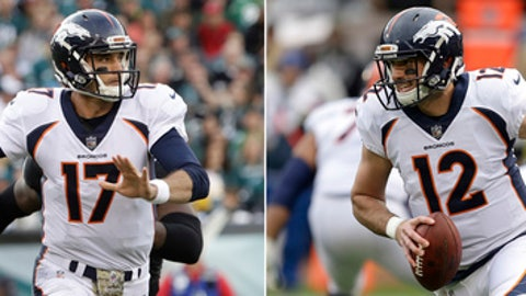 FILE - At left in a Nov. 5, 2017, file photo, Denver Broncos' Brock Osweiler (17) looks to pass during an NFL football game against the Philadelphia Eagles in Philadelphia. At right, in a Nov. 26, 2017, file photo, Broncos quarterback Paxton Lynch (12) rolls out against the Oakland Raiders during the first half of an NFL football game in Oakland, Calif. Kirk Cousins has started every game for the Redskins for the past three years, the polar opposite of their Week 16 opponent, the Broncos, since Peyton Manning retired. Trevor Siemian has started 10 games, Brock Osweiler three and Paxton Lynch one for Denver this season. (AP Photo/File)