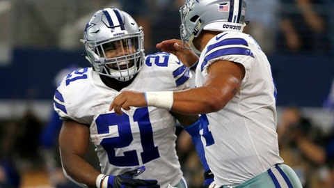 FILE - In this Oct. 8, 2017, file photo, Dallas Cowboys' Ezekiel Elliott (21) ad quarterback Dak Prescott (4) run off the field celebrating during an NFL football game against the Green Bay Packers in Arlington, Texas. Ezekiel Elliott returns to the Dallas backfield after serving his six-game suspension, the Cowboys went 3-3, winning the three most recent outings. (AP Photo/Ron Jenkins, File)
