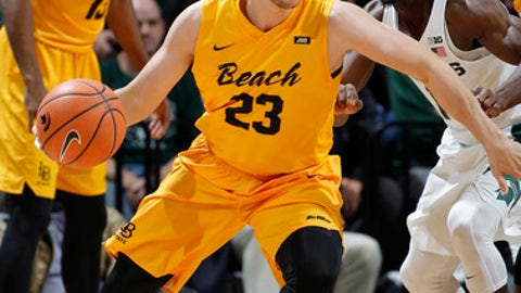 Long Beach State's Edon Maxhuni (23) drives against Michigan State's Tum Tum Nairn during the first half of an NCAA college basketball game, Thursday, Dec. 21, 2017, in East Lansing, Mich. (AP Photo/Al Goldis)