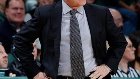 Michigan State coach Tom Izzo reacts during the first half of an NCAA college basketball game against Long Beach State, Thursday, Dec. 21, 2017, in East Lansing, Mich. Michigan State won 102-60. (AP Photo/Al Goldis)