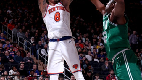NEW YORK, NY - DECEMBER 21:  Michael Beasley #8 of the New York Knicks goes to the basket against the Boston Celtics on December 21, 2017 at Madison Square Garden in New York City, New York.  NOTE TO USER: User expressly acknowledges and agrees that, by downloading and or using this photograph, User is consenting to the terms and conditions of the Getty Images License Agreement. Mandatory Copyright Notice: Copyright 2017 NBAE  (Photo by Nathaniel S. Butler/NBAE via Getty Images)
