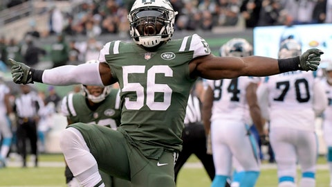 FILE - In this Nov. 26, 2017, file photo, New York Jets inside linebacker Demario Davis (56) reacts after a play against the Carolina Panthers during the second half of an NFL football game in East Rutherford, N.J. Davis is having the best season of his career in his sixth year in the NFL.  (AP Photo/Bill Kostroun, File)