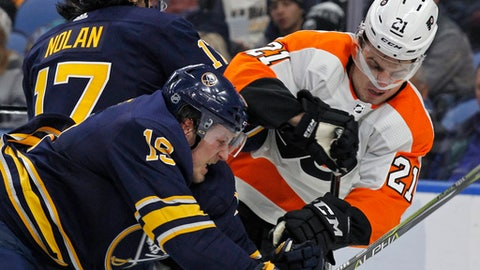 Buffalo Sabres defenseman Jake McCabe (19) checks Philadelphia Flyers forward Scott Laughton (21) during the second period of an NHL hockey game, Friday, Dec. 22, 2017, in Buffalo, N.Y. (AP Photo/Jeffrey T. Barnes)