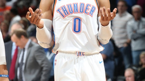 OKLAHOMA CITY, OK - DECEMBER 22:  Russell Westbrook #0 of the Oklahoma City Thunder reacts during the game against the Atlanta Hawks on December 22, 2017 at Chesapeake Energy Arena in Oklahoma City, Oklahoma. NOTE TO USER: User expressly acknowledges and agrees that, by downloading and or using this photograph, User is consenting to the terms and conditions of the Getty Images License Agreement. Mandatory Copyright Notice: Copyright 2017 NBAE (Photo by Layne Murdoch/NBAE via Getty Images)