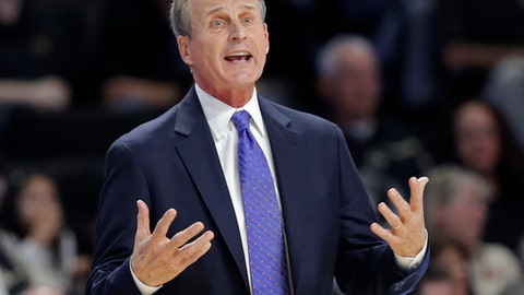 Tennessee head coach Rick Barnes argues a call during the first half of an NCAA college basketball against Wake Forest in Winston-Salem, N.C., Saturday, Dec. 23, 2017. (AP Photo/Chuck Burton)